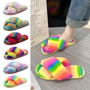Women's Fuzzy Slippers Cross Slip On Warm Shoes House Slippers Open Toe Shoes