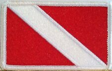 DIVER DOWN SCUBA DIVING FLAG Patch with VELCRO® Brand Fastener White Border #4