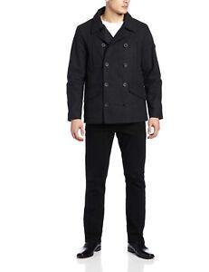 T-TECH by TUMI Men's Wool Blend Waterproof Peacoat Black Charcoal Size Large