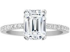 Emerald Cut Diamond Petite Engagement Ring, Pave Band - GIA Flawless