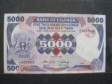 UGANDA 5000 SHILLING 1985 P24a SHARP #M SHILLINGI BIG WORLD BANKNOTE PAPER MONEY