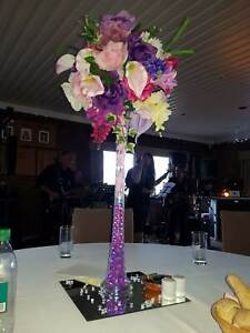 Wedding table flower centrepieces tall vases x 8 in purples & pinks flowers