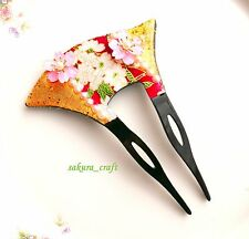 Cute Japanese handmade Ornamental hairpin Kanzashi Cherry blossoms F/S