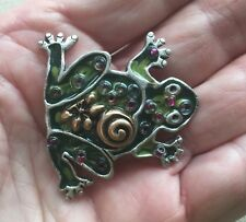 """Silver-Tone 1.5"""" Wide & Long Chico's Enamel Frog Pin Abstract"""