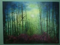 "Beautiful ""Moonlit Forest"" Original Acrylic Painting On Canvas 18"" X 24"""