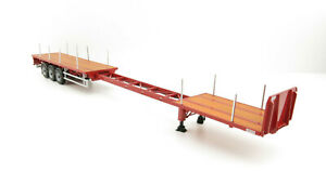 WSI 04-1137 - Dennison 3-axle Flat Top Extendable Trailer - Red - Scale 1:50