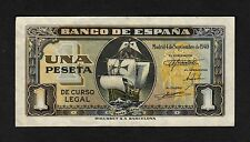 F.C. 1 PESETA SEPTIEMBRE 1940 , SERIE I , EBC- , PICOS DOBLADOS .