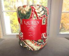 Ralph Lauren Micromink Throw Blanket Fleece Paisley Print Red Green Holiday NWT