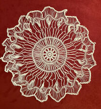 Beautiful Antique Ivory Tenerife Ivory Hairpin Lace Doily 11 1/2 Inches