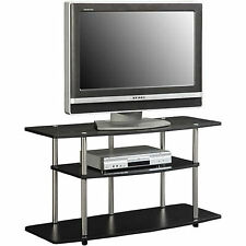 Small Black TV Stand Flat Screen Holder Media Entertainment Center Wood Cabinet