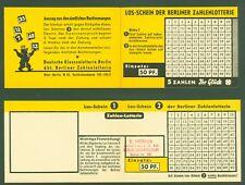 Lottoschein 5 aus 90 der Berliner Zahlenlotterie aus den 50ern - Berlin W 15