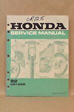 Vintage 1992 Honda CR125 R Dirt Bike Motorcycle Shop Repair Service Manual