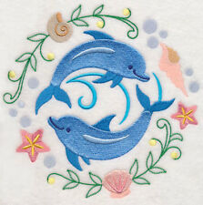 DOLPHIN FRIENDS TO CUTE NEW SET OF 2 BATH HAND TOWELS EMBROIDERED BY LAURA