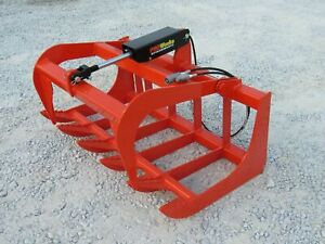 "Kubota Tractor Skid Steer Attachment - 48"" Root Rake Grapple Bucket - Free Ship"