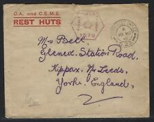1916 Britsh Army Post Office S.23 Censored Cover - C.A. and C.E.M.S. Rest Huts