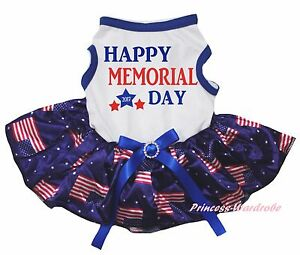 Happy Memorial Day 2017 White Top Blue US USA Flag Tutu Pet Dog Puppy Cat Dress