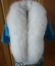 100% Handmade natural white fox tail fur scarf collar warmer shawl Scarves100cm
