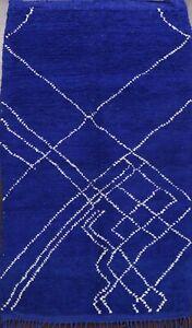 Modern Plush Wool Authentic Moroccan Berber Area Rug Vegetable Dye Handmade 5x7