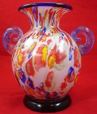 Vintage COLORFUL CASED GLASS VASE Applied Ground Base Pull Scroll Handle Red