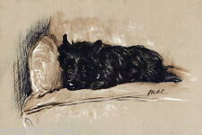 1930's Lucy Dawson~Black Cairn Terrier Dog Laying in Chair~ New Large Note Cards