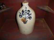 """Vintage Stoneware Jug #3 16"""" Tall Cobalt Blue Flower Small Chips SEE PHOTOS!"""