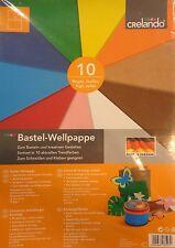 Crelando * Bastel-Wellpappe * 10 Farben * 10 Bogen * 24 x 34 cm * Neu * OVP