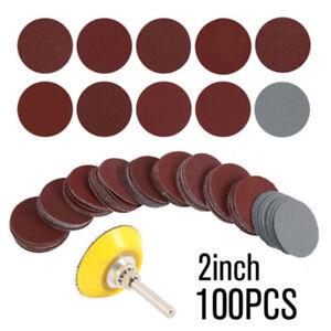 100X 2'' 50mm Mixed Sander Sanding Discs 80-3000 Grit Pads Hook & Loop Sandpaper