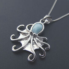 Larimar Octopus Pendant//Necklace With clear accents .925 Sterling Silver