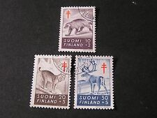 FINLAND, SCOTT # B142-B144(3), COMPLETE 1957 SEMI-POSTAL ANTI-TB SOCIETY USED