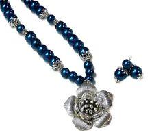 Necklace earrings set, dark navy blue pearl, silver flower, clip on or pierced