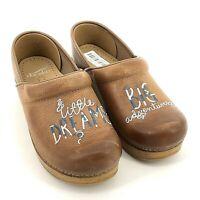 Dansko Twin Clogs Little Dreams Big Adventures Brown Leather Clogs 40 9.5 10