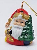 Porcelain Christmas Santa Bell Ornament Vintage