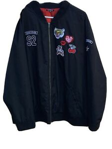 torrid black bomber jacket with patches on chest size 5