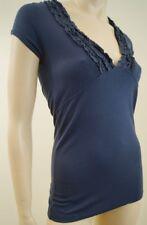 BURBERRY London Bleu Femmes V à volants cou à manches courtes T-shirt Tee Top Sz: S