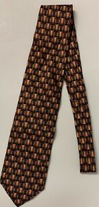 ERMENEGILDO ZEGNA Men's 100% Silk Necktie ITALY Copper/Navy/Creme Circles