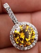 EPIC VAULT-Citrine Topaz Zircon Hollow Pendant-18K White Gold Filled