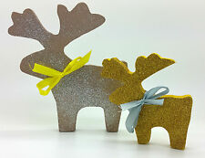 GOLD SILVER BROWN GLITTER REINDEERS DEER CHRISTMAS DECORATION SHABBY CHIC HOME