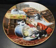 Bradford Exchange Victorian Cat Plate Henriette Ronner Mischief With The Hat Box
