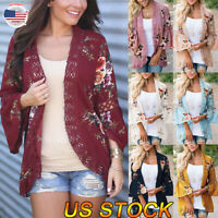 Womens Cardigan Floral Tops Coat Lace Side Ladies Open Long Sleeve Blouse Coat
