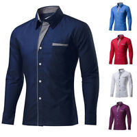 UK Mens Long Sleeve Dress Shirts Formal Business Casual Shirt Slim Plus Size