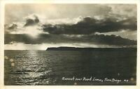 San Diego California~Sunset Over Point Loma~1950s Real Photo Postcard~RPPC