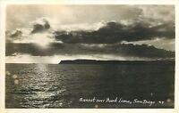San Diego California~Sunset Over Point Loma~1950s Real Photo Postcard~RPPC