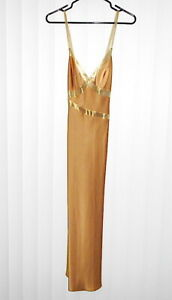 Vintage NATORI Gold Color With Accent Gold Straps Negligee Nightgown Size Petite