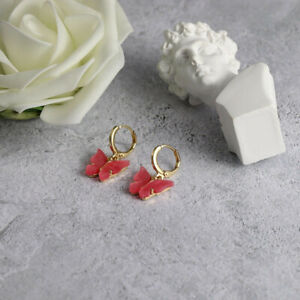 Exquisite Womens Gold Plated Cute Butterfly Red Crystal Drop Earrings Jewelry Gi
