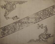 Gravure sur cuivre de Jean LAMOUR, planche d'ornements: clés et ferronneries