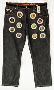 New NWT $285 CROWN HOLDER Mens Jeans Patches Embroidered Black 38x34 38W 34L