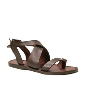Handmade Women's thongs open sandals shoes flats in brown leather Made in Italy