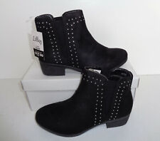 New Ladies Womens Black Heel Ankle Studded Diamante Chelsea Shoes Boots Size 3-8