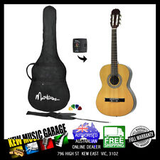MARTINEZ 3/4 SIZE SLIM NECK CLASSICAL GUITAR PACK WITH BUILT IN TUNER NAT GLOSS