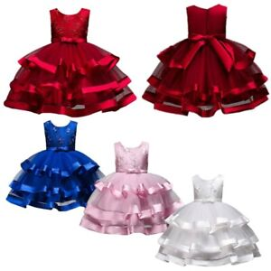 Kids Girls Tutu Gown Wedding Princess Embroidery Bridesmaid Floral Tulle Dress
